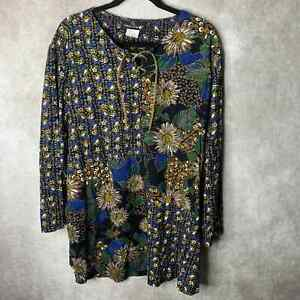 Carole Little Tunic Top Womens Size 16 Multicolor Floral Tie Neck Long Sleeves