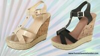 Womens Ladies T-Bar Beige Black Party Evening Wedge Sandal, UK Size 3 4 5 6 7 8