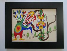 MID CENTURY OUTSIDER ART PAINTING ABSTRACT SURREALISM EXPRESSIONISM 1950'S LSD