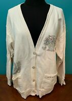 Vintage 90's Gloria Women's Country Design Knit Cardigan - XL, White, USA Made