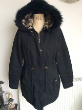 NEW LOOK Black Cotton Quilted Hooded Coat Size 10