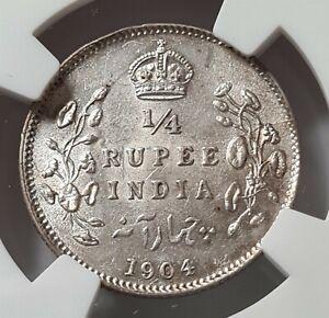 INDIA British 1/4 rupee 1904 (C) Calcutta NGC MS 62 UNC Silver Edward VII