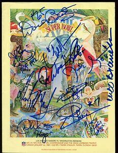 1984 NFL Super Bowl 18 Program Washington Redskins Autographed 11 Sigs JSA LOA