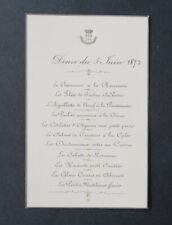 Menu 5 juin 1893 Comtesse DE GRAMONT D'ASTER DE SEGUR DE GABRIAC noblesse
