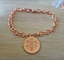 """7.75"""" Copper 18mm Engravable Medical Alert Charm on Bracelet"""