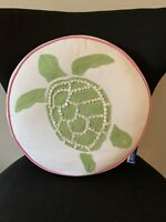 """Pottery Barn Teen Throw Pillow Sea Turtle Round Embroidered Decorative 14"""""""