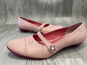 Clarks Pale Pink Leather Low Soft Stub Heel Shoes Women Uk4 Casual Smart Slip On