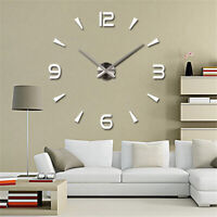 DIY Large 3D Number Mirror Art Clock Wall Sticker Big Watch Home Room Decor CHY
