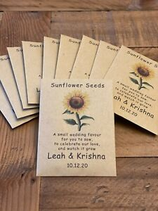 10 Personalised Sunflower Seed Wedding Favours with poem Table Guest inc seeds