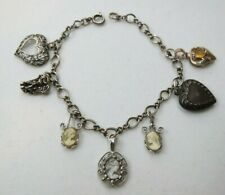 Vintage Sterling Silver Charm Bracelet Hearts Angel 3 Carved Shell Cameo Charms