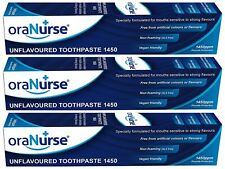 3 x OraNurse Unflavoured Toothpaste 50ml for People Sensitive to Strong Flavours