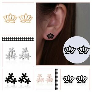 NEW GOOD QUALITY STAINLESS STEEL FASHIONABLE STUD BLACK SILVER EARRINGS PIERCING