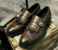 Handmade Brown Leather & Suede Monk Strap Shoes, Wingtip Brogue Fringe For Men