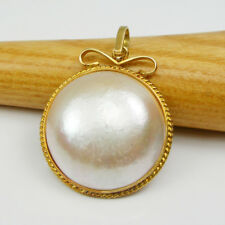 Rare Size 23mm Round Aus Mabe Pearl Pendant Genuine 750 18k 18ct Yellow Gold
