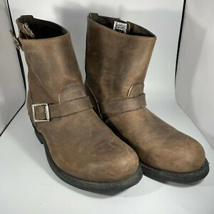 """Frye Boots Women 10 Brown Engineer Moto Leather Buckle USA Unlined Rubber 1.5"""""""