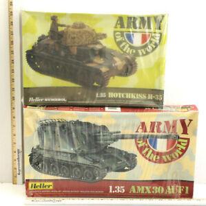 2pc Vintage Heller France 1/35 Tank Model Kits H-35 Hotchkiss AMX 30 AUF1    NIB