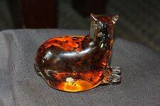 Hand Blown Amber And Black Art Glass Dog?Figurine Sculpture Heavy Paperweight