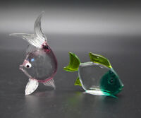 Two Handcrafted Art Glass Fish Figurines Vintage