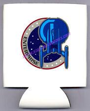 Can Koozie Star Trek Enterprise Nx-01 Mission Patch Logo on White Neoprene Mint!