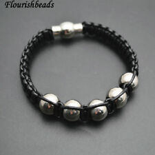 Black Leather Cord Braided Wide Cord Stainless Steel Beads Bracelets Man Jewelry