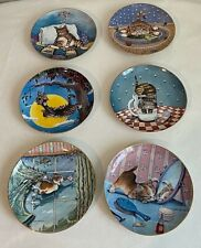 Comical Cats Collector Plates~Set 6~The Danbury Mint 92-96~Gary Patterson A3638