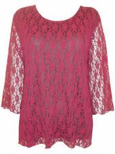 Maglie e camicie da donna rossi in pizzo con girocollo