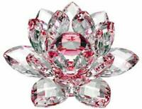130mm/5'' Home Wedding Decor Glass Crystal Lotus Flower Feng Shui Paperweight