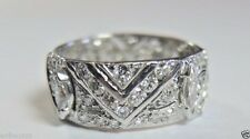 Antique Art Deco Diamond Wedding Eternity Band Platinum Ring Size 7-7.5 EGL USA