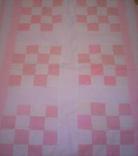 Baby Quilt 30 x 40 Hand Tied and Bound Pink White Checked New Puffy Soft