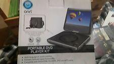 """NEW ONN 180°Swivel Portable DVD Player Kit~7""""Screen~Buit-In Stereo Speakers~USB"""