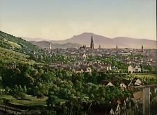 Freiburg von Rebgut Sonnenberg aus gesehen.  PZ vintage photochromie, Deutschlan