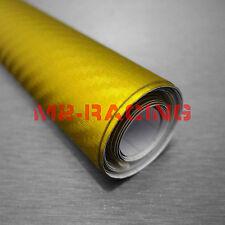 "60""x108"" Satin Chrome Metallic Carbon Fiber Yellow Vinyl Wrap Car Sticker Decal"