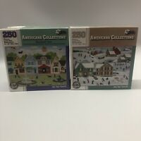 Americana Collections Puzzles Set Of 2 Dog Lovers Lane Once Upon A Winter 250 Pc