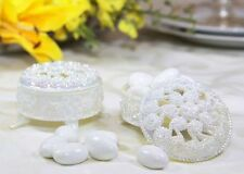 12 Pearl White Round Plastic Trinket Box Wedding Favor Table decorations
