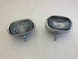 Pair of square classic Fog Lights For Mercedes W121 190sl Porsche 356