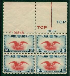 US #C23 6¢ Eagle Airmail, Plate No. Blk w/LARGE DOWNWARD SHIFT OF RED TOP NH