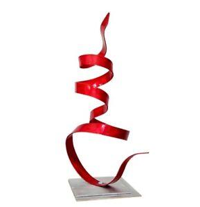 Metal Sculpture Abstract Red Centerpiece Table Decor Signed Original Jon Allen