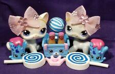 AUTHENTIC Littlest Pet Shop 64 Gray Cat #246 Blue Eyes White Kitty Shorthair lps