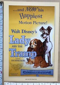 Vintage Cute Disney cartoon print film poster Lady & the Tramp Dog Cat 1950's