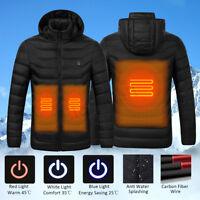 Hot Men Women Electric Heating Vest USB Hooded Heated Coat Jacket Temp Control