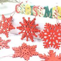 6Pcs/set Red White Wooden Christmas Snowflake Pendant Hanging Decoration Crafts