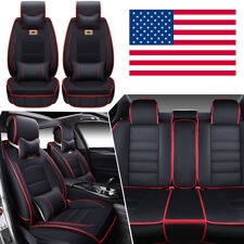 US Deluxe PU leather Car SUV Seat Cover 5-Seats Full Front+Rear Cushion W/Pillow