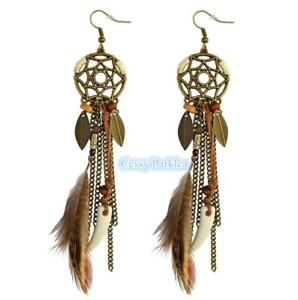 DR9 Native American Indian Tribal Feather Ladies Costume Party Pierced Earrings