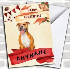 Watercolour Rustic Dog Pitbull Personalized Christmas Card