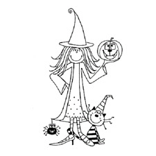 PENNY BLACK RUBBER STAMPS APPRENTICE WITCH HALLOWEEN STAMP
