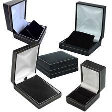 Luxury black leatherette velvet jewellery presentation boxes wholesale 5 10 20