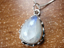 Rainbow Moonstone Pendant 925 Sterling Silver Rope Weave Accented Sides a198pw