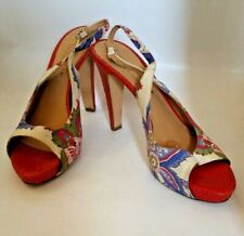 BETTYE MULLER Red croc heels floral pattern open toe sling back Shoes 40 Italy
