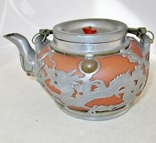 "7.5"" Old Chinese YIXING Clay Teapot w/ Partial Pewter Covering of Dragons & Bats"