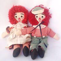 Vintage Raggedy Ann Doll Andy Girl Boy Fabric Red Yarn Hair Folk Rag 60s 70s